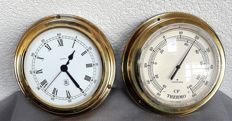 Quartz Mendoza ship clock and Junghans thermometer (both brass)