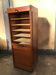 Oak filing cabinet with roller door