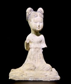 Chinese Tang Dynasty Terracotta Female Figure - 16cm x 11cm