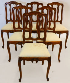 A Louis XV set of six oak chairs - Liege, Belgium - circa 1780