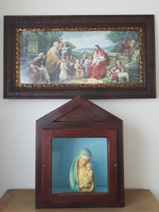 Frame with Lamb of God and Mary statue with closed house