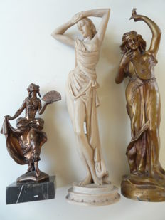 3 Charming ladies statues, 1 cut out alabaster, 2 metal plated statues