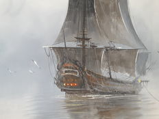 Two Galleons in the mist