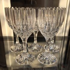 Lot of 5 large hand-cut fine crystal glasses