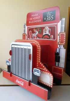 Large advertising billboard of Coca Cola Truck, 3D with lights on battery - Big bottle 60 cm. Large can/stool with cushion - 21st century