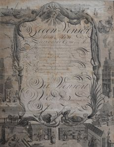 Very Old Zegen-Wensch (New Year's wishes) from 1795 on Engraving