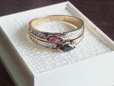 14k Gold Ring with 0,27ct diamands/ruby/ sapphire . Size 17.20mm/ 2.95g***no reserve price