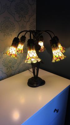 6-Light floor lamp - painted glass - Belgium - recently made