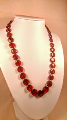 100% Natural aged Cognac - Ruby colour Baltic amber necklace, length ca. 47 cm