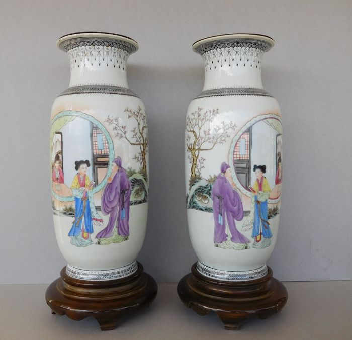 Α pair of  large famille rose porcelain vases (not pierced) - lamps on wooden bases. - China - ca.1960-1980s