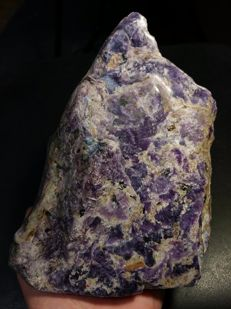 Beautiful large rough & polished Charoite stone - 19 × 14 × 5.5 cm - 1650 gm