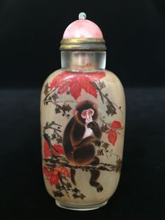 Chinese 12 zodiac pure handwork inside painted snuff bottle - Monkey