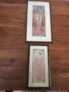 Two framed Alphonse Mucha prints - replica after old edition