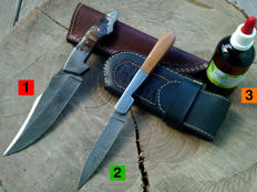 1 Damascus Steel hunting knife / outdoor/camping + 1 Damascus Steel folding knife / Pocket knife + 100 ml of Camellia care oil
