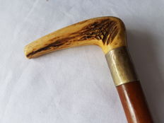 Antique walking stick with horn handle