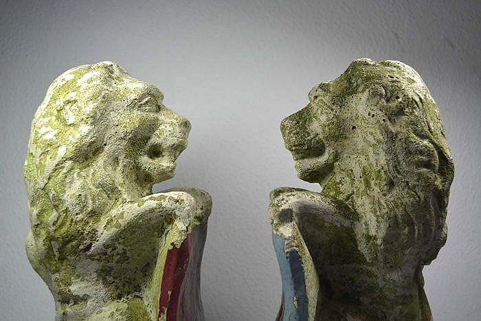 Two stone lions with coat of arms in cast stone from Amsterdam - The Netherlands - ca. 1920