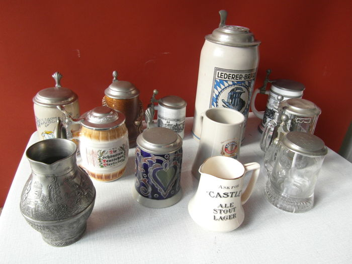 12 beer mugs from Germany including Goebel - Netherlands-Ireland - from the 1960s / 80s