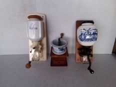 Porcelain coffee grinders.