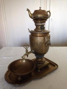 Antique brass samovar set with kettle, bowl and tray - 2.7 kgs