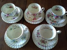 Royal Albert, 5 cups, 5 saucers, 5 plates, flower of the month