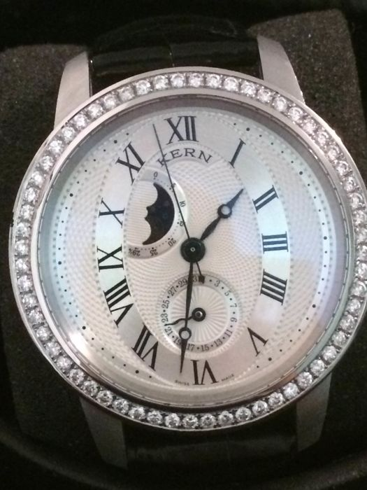 Men watch  KERN VISION-1  with diamonds silver automatic