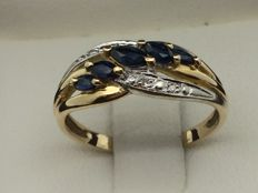 750GOLD ring, sapphires, diamonds, size 54