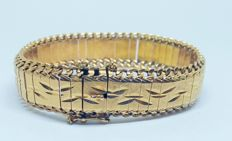 Large 18 kt yellow gold bracelet with beautiful openwork and brooch clasp (with safety chain)
