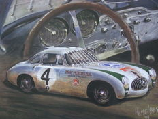 Beautiful lithograph of the Mercedes-Benz 300 SL, in which Karl Kling won the Carrera Panamericana in 1952