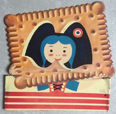 Lithographed sheet metal plate - Biscuit Alsacienne (drawing Herve Morvan) - 1950s