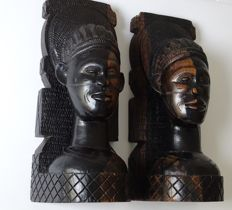 Two hardwood bookends - sculptures - Africa