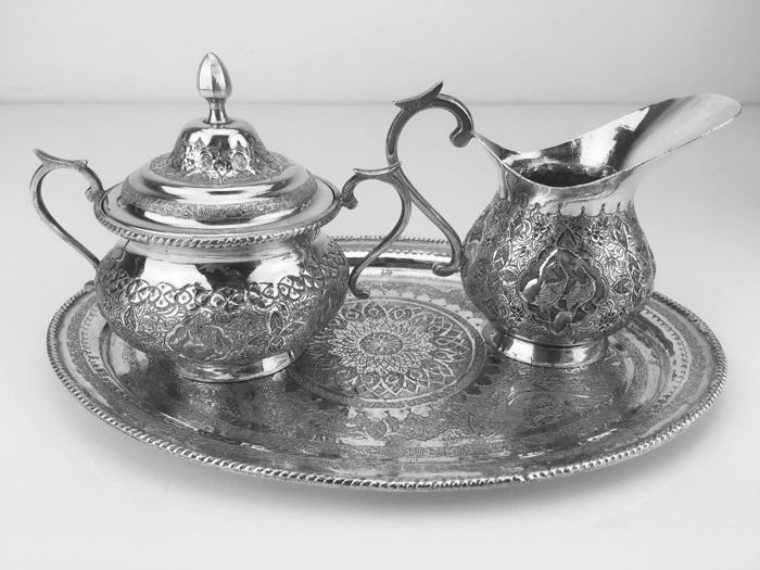 Silver cream set with serving tray, Persia, ca. 1960.