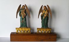 Music-making angels  - polychromed cast iron - France - circa 1860-80