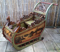 Handmade and painted sleigh, Netherlands, first half 20 century