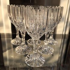 Lot of 6 hand-cut fine crystal glasses