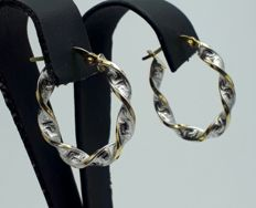 14 Ct Yellow & White Gold Helix Hoop Earrings, Diameter 2.5 cm, Total Weight 1.67g