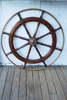 Large vintage hardwood ships wheel or helm
