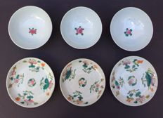 Lot porcelain saucers and bowls with orange stamps - China - early 20th century
