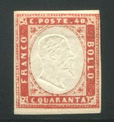 Sardinia 1855 - 5th emission - 40 cent Scarlet red - Sassone No. 16A