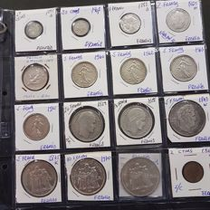 France - Lot of 196 different coins - 15 in silver