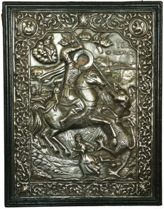 Silver riza of St. George and the Dragon