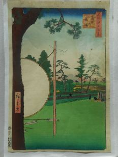 Original print by Utagawa Hiroshige I (1779-1858) - 'The Racetrack of Takata no baba' no. 115 of the series of 'One Hundred Famous Views of Edo' - Japan - Jan. 1857