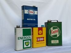CASTROL — ESSO — SHELL and ENERGOL motor oil __ fout tin cans __  from the 1960s - 1980s