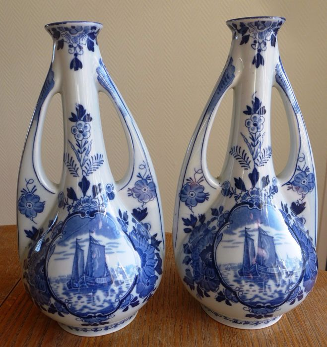 2 Delftware vases - Art Nouveau shape