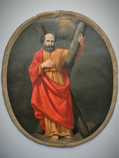 "Painting ""Saint Andrew"", oil on canvas, Flanders (Belgium) - 18th - 19th century"