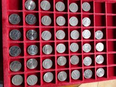 Italy, Republic - Series of 40 coins, 10 lire 'Spighe' from 1951 to 1999 + 40 coins, 5 lire 'Delfino' from 1950 to 1998