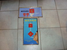 Old advertising signs for Belga in cardboard with metal frame