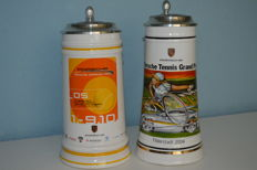 "Rare 2 pieces beer mugs ""Porsche Tennis Grand Prix Filterstadt"""