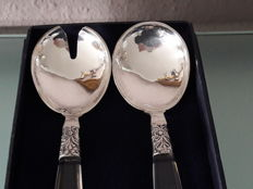 Beautiful Juweliers - salad cutlery made from 925 sterling silver with acrylic glass handles in original box