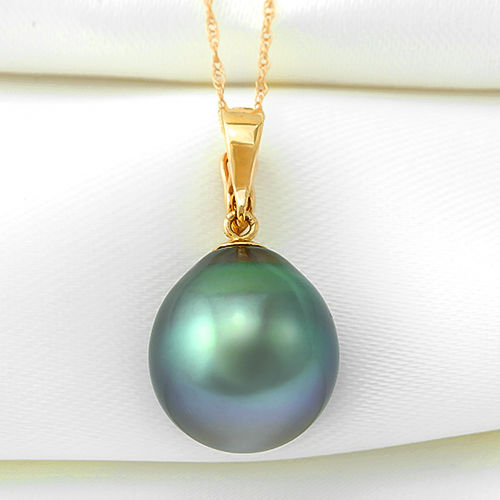 14K Pendant set with 12.5 x 13.9 mm Genuine Tahitian Pearl  (No reserve Price)