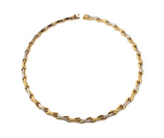 Ladies' choker in 18 kt gold with rhodium - Length: 45 cm